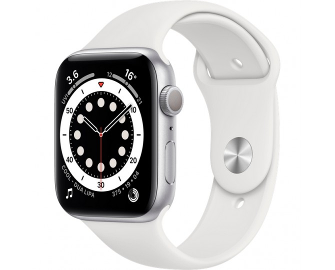 Apple Watch Series 6 GPS, 40мм, Серебристый, Спортивный ремешок белого цвета